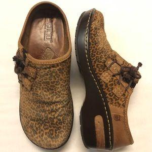 Born leather shoes leopard print mule clogs